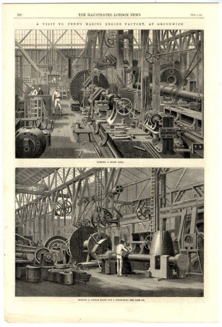 1865 Antique Print PENNS MARINE ENGINEERING FACTORY GREENWICH LONDON John Penn VICTORIAN ENGRAVING